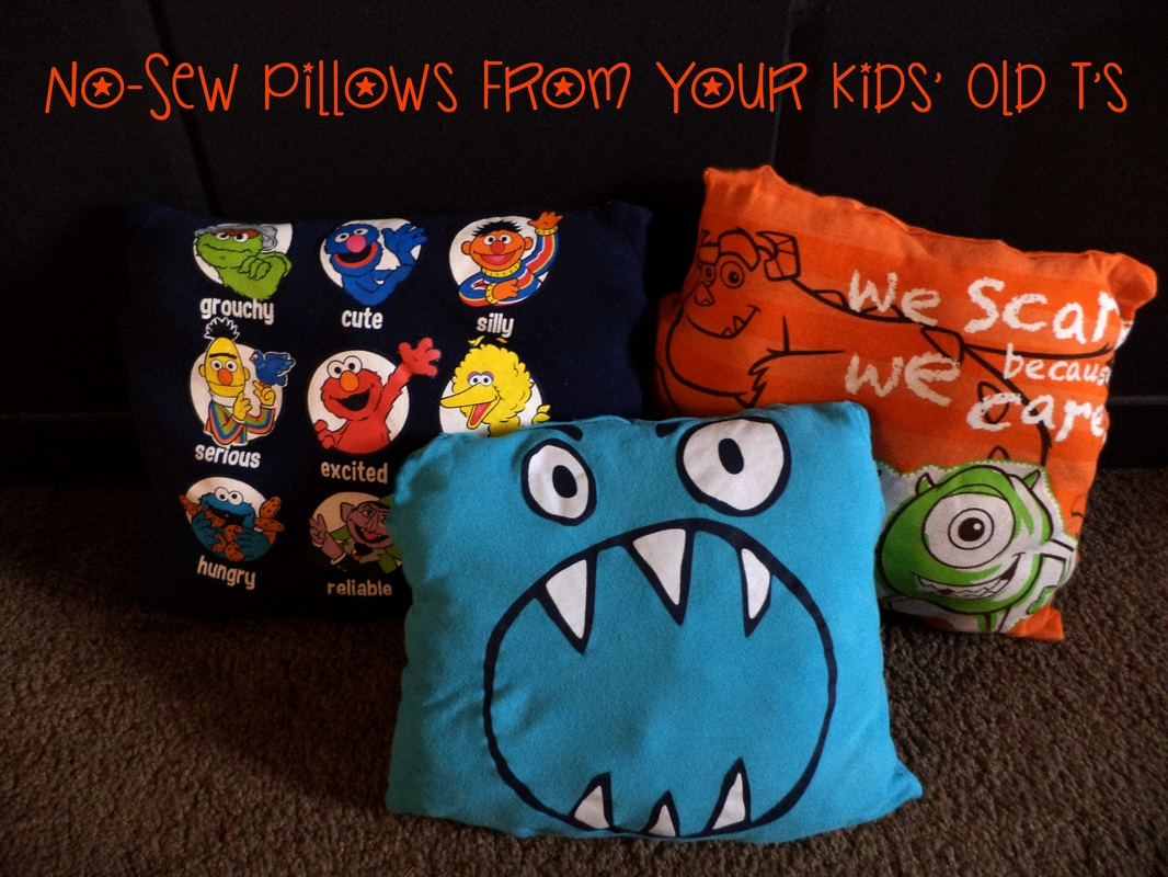 No-Sew Pillows from your Kids' Old T Shirts