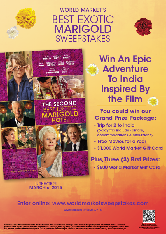 World Market's Marigold Hotel Sweepstakes