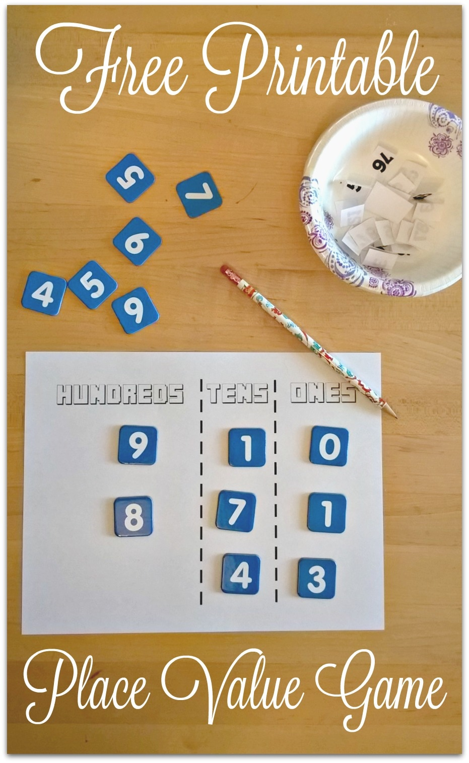 photo about Printable Place Value Game referred to as Free of charge Printable Issue Worth Match